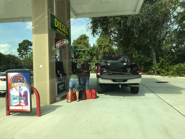 Hurricane Irma - Gas being filled in cans