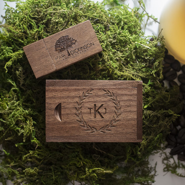 wood USB on Green Moss