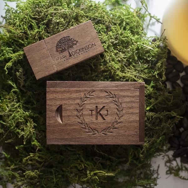 wood USB on Green Moss