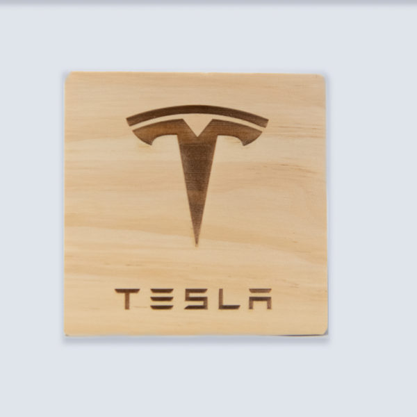 tesla wood laser engraved coaster